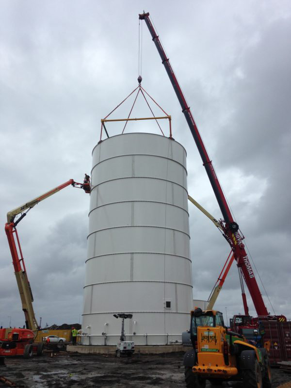 130t Liebherr in use at Crane Hire Project building silos