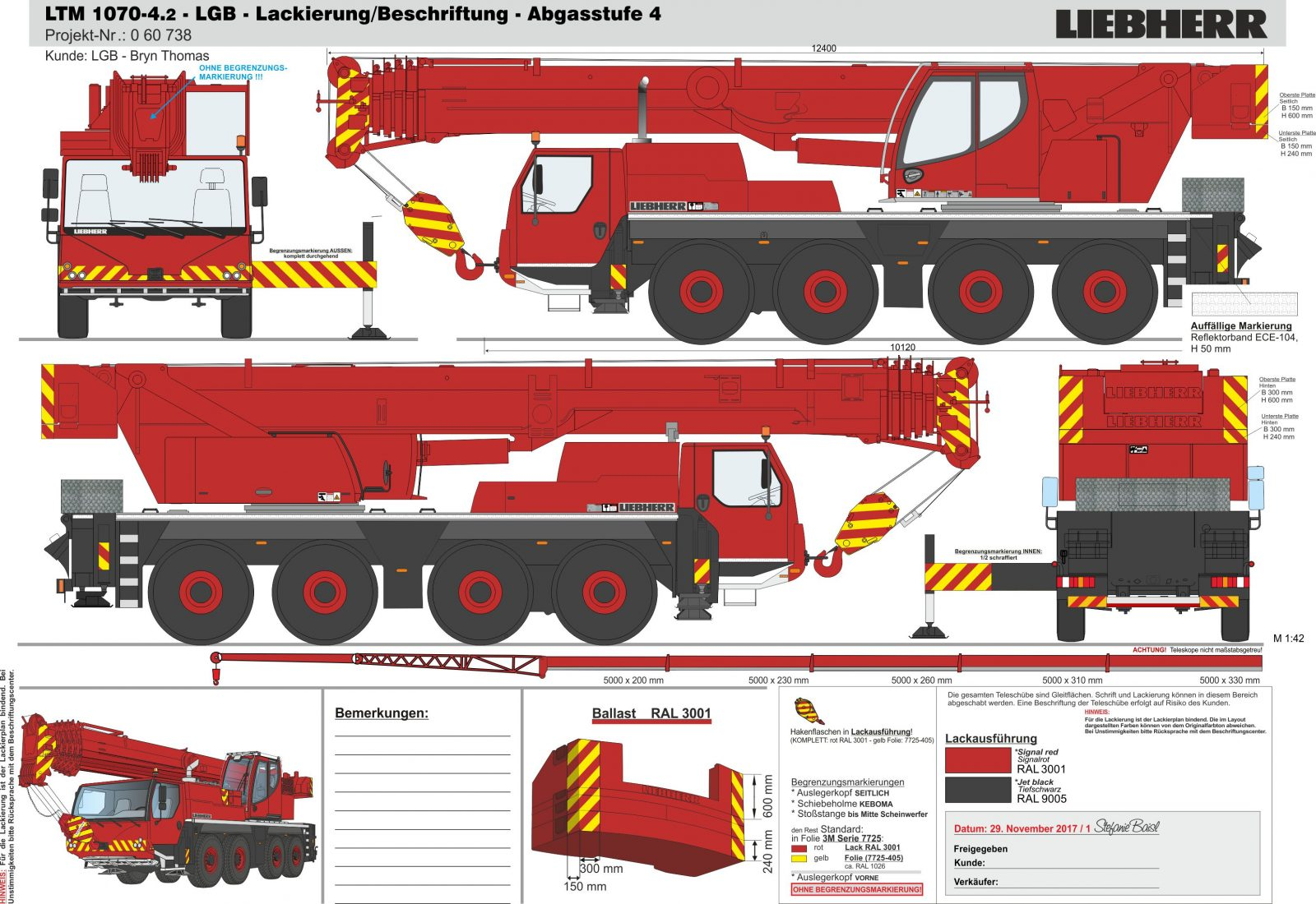 Diagram of Bryn Thomas Cranes Liebherr Fleet
